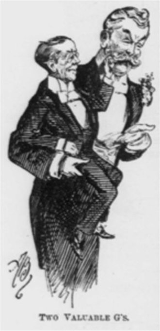 His Excellency (opera) - Contemporary press cartoon showing Gilbert with Grossmith