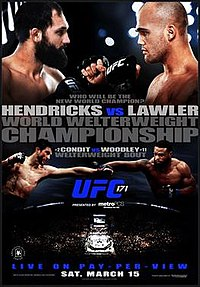 A poster or logo for UFC 171: Hendricks vs. Lawler.