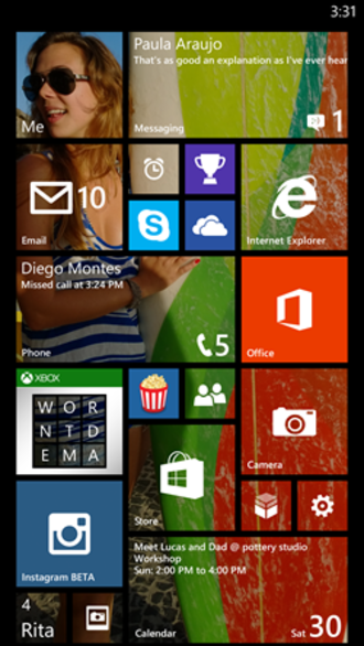 Windows Phone 8.1 - Image: WP8.1 Start Screen