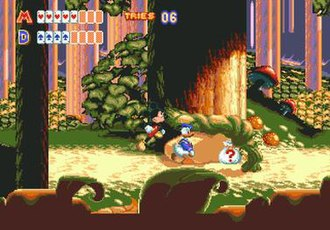World of Illusion Starring Mickey Mouse and Donald Duck - Mickey and Donald in the first level. The cards represent the characters' health, and are turned face-down when they take damage.