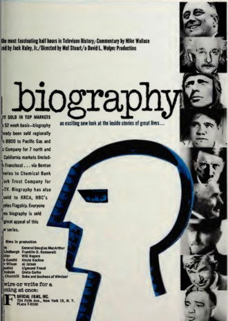 Biography (TV program) - 1961 advertisement for Biography in Sponsor magazine