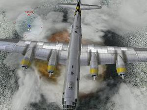 Combat Flight Simulator 3: Battle for Europe - A B-29 flying over Nazi Germany in winter with Shockwave Productions Firepower add on
