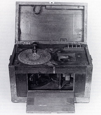 Beardslee Telegraph - A Beardslee telegraph machine. Note the alphabet dial and pointer instead of the usual transmission key.