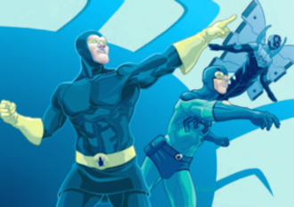 Blue Beetle - Dan Garrett, Ted Kord, and Jaime Reyes. Art from the Blue Beetle Companion, by Tom Feister.