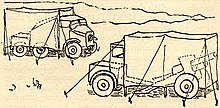 Sketch by Eighth Army camoufleur Brian Robb of the 'Cannibal' method of disguising gun, limber and 'Quad' as 2 trucks