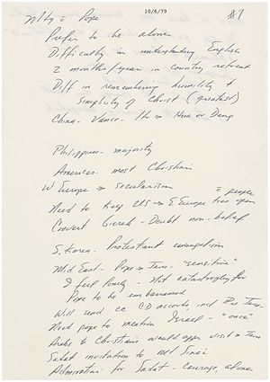 Note-taking - President Jimmy Carter's Notes from his private meeting with Pope John Paul II, October 6, 1979.