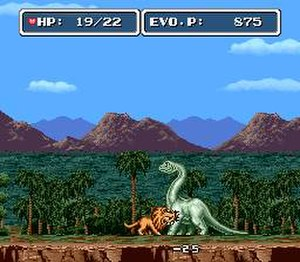 E.V.O.: Search for Eden - Biting one of the few remaining dinosaurs in Chapter 4 (the Ice Age) as an early mammal hybrid. The upper bars show the player's health, as well as their current evolution points for that stage.