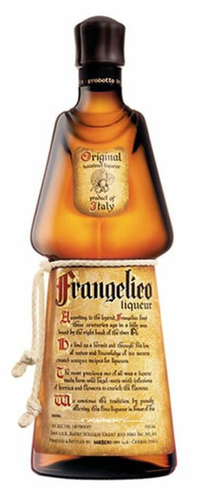 """Frangelico - The distinctive Frangelico bottle. It is designed to resemble a friar in his habit; note the rope tied around the bottle's """"waist."""""""