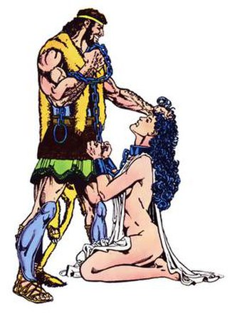 Hercules (DC Comics) - Heracles subduing Hippolyta. Art by George Pérez.