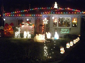 Urbana, Illinois - A house on Candlestick Lane colorfully decorated for Christmas