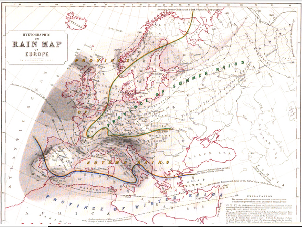 "This ""Hyetographic or Rain Map of Europe"" was also published in 1848 as part of ""The Physical Atlas"". Hyetographic or Rain Map of Europe 1848 Alexander Keith Johnston.png"
