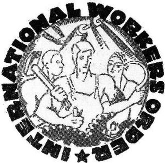 International Workers Order - Original logo of the International Workers Order (IWO), 1930-39. The Communist imagery of this seal was used as evidence against the Order in court. The organization's post-1940 logo was a lithograph by Rockwell Kent.