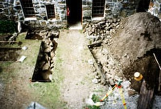 Kisimul Castle - Survey trenches in the courtyard of Kisimul Castle.