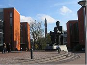 The university's Learning Centre and Faraday sculpture