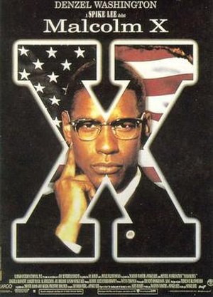 Malcolm X (1992 film) - International release poster featuring Denzel Washington as Malcolm X in an iconic pose