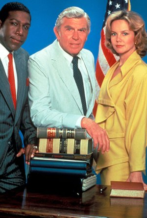 Matlock (TV series) - Original cast (from left): Kene Holliday, Andy Griffith, and Linda Purl