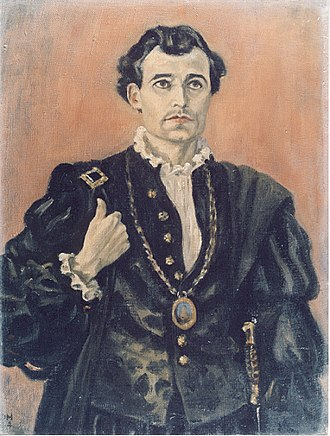 Michael Goodliffe - Goodliffe  Painted by Aubrey Davidson-Houston in the role of Hamlet, performed while a POW in Germany.