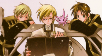 07-Ghost - From left to right: Mikage, Hakuren, Mikage's reincarnated self (Burupya), and Teito