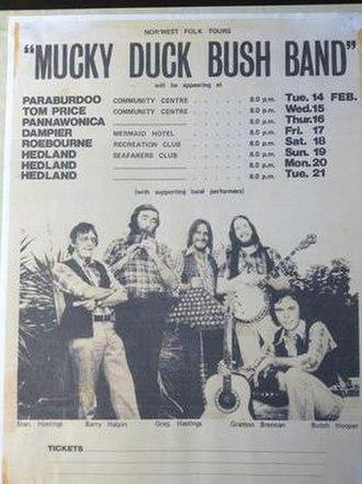 Australian folk music - 1978 Mucky Duck Bush Band tour poster for the Pilbara Region