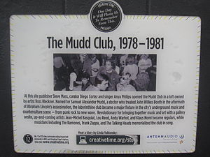 Mudd Club - Mudd Club plaque on building in NYC