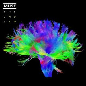 "Neuroscientist - Muse's album cover for ""The Second Law"" features an image produced by the Human Connectome Project, illustrating the complex connections of the human brain."