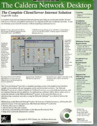 Caldera OpenLinux - Back of Caldera Network Desktop 1.0 box