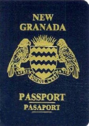 "Camouflage passport - A New Granada camouflage passport. The design on this cover includes the name of a country that no longer exists (New Granada) and a coat of arms assembled from the real arms and motto of Dominica (motto: ""Après Bondie, C'est La Ter"") and a shield of barry wavy design different from the Dominican arms."