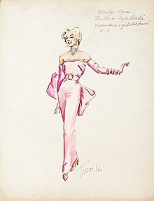 "Original Sketch of Marilyn Monroe wearing her pink dress for the musical Number ""Diamonds are a Girls Best Friend"" this sketch by William Travilla showes Monroe wearing matching pink gloves.jpg"
