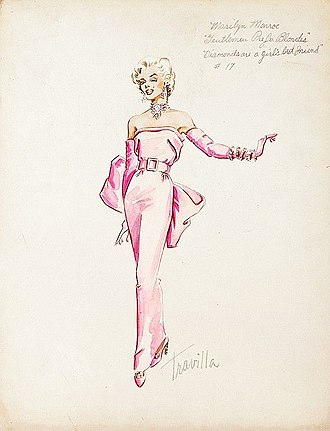 """Marilyn Monroe's pink dress - Image: Original Sketch of Marilyn Monroe wearing her pink dress for the musical Number """"Diamonds are a Girls Best Friend"""" this sketch by William Travilla showes Monroe wearing matching pink gloves"""