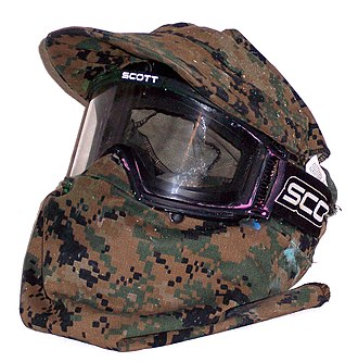 Paintball equipment - A typical paintball mask with a MARPAT cover
