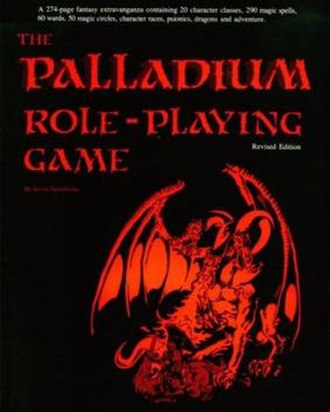 Palladium Fantasy Role-Playing Game - Cover of The Palladium Role-Playing Game, Revised Edition core rulebook, published June 1984, illustrated by Kevin Siembieda.