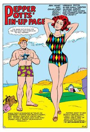 Happy Hogan (comics) - Happy with his girlfriend Pepper Potts. Art by Don Heck.