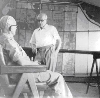 Pierre Jeanneret - Pierre Jeanneret in conversation with Le Corbusier at the Architect's Office (now Le Corbusier Centre) in Chandigarh