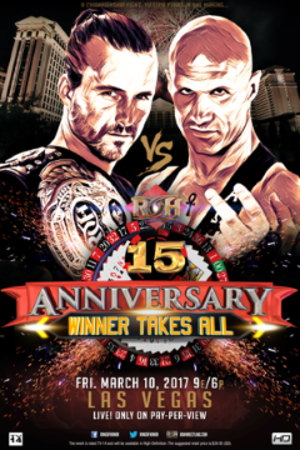 ROH 15th Anniversary Show - Promotional poster for the first night, featuring Adam Cole and Christopher Daniels