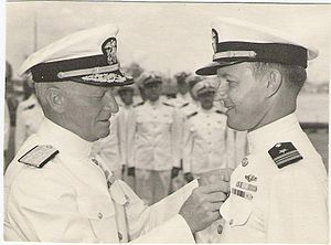 Roy S. Benson - Lt. Commander Roy S. Benson of the USS ''Trigger'' receives his second Navy Cross from Admiral Chester W. Nimitz