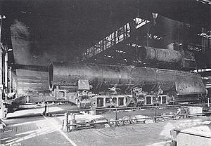 Pennsylvania Railroad class S1 - The S1 under construction at Altoona. The smaller boiler in the photo is for a B6 switcher giving a sense of scale.