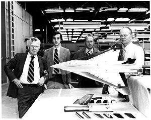 General Dynamics F-16XL - Model 400 design team, starting left: Harry Hillaker, Andrew Lewis, Kenny Barnes, Jim Gordon