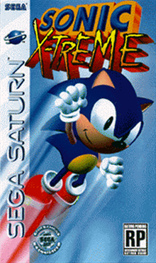 Sonic X-treme pre-release conceptual box art for Sega Saturn