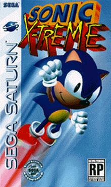 Sonic X-treme przedpremierowa grafika koncepcyjna pudełka dla Sega Saturn