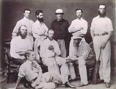 The Tasmanian side that played against Victoria in 1867. Tascricket1867.jpg