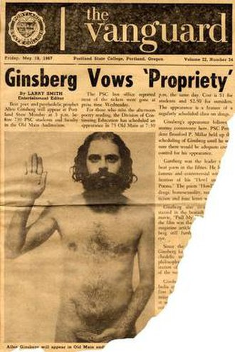 Daily Vanguard - A nude Allen Ginsberg on the cover of the Vanguard.