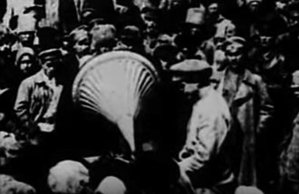 Agit-train - Crowds would be gathered around agit-trains and modern technology such as phonographs and moving pictures demonstrated to a poor rural audience to emphasize the modernizing agenda of the Soviet regime. (1921 newsreel footage).