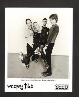 Weeping Tile (band) - Weeping Tile, 1996.  L-R: Sarah Harmer, Mary Harmer, Cam Giroux and Luther Wright.