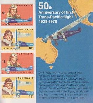 Charles Kingsford Smith - Stamp sheet, released in Australia in 1978 in commemoration of the 50th anniversary of the first Trans-Pacific flight