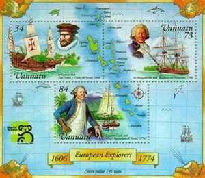 Postage stamps and postal history of Vanuatu - A modern stamp miniature sheet of Vanuatu depicting explorers.