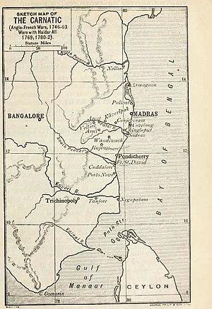 Ananda Ranga Pillai - A map of the Carnatic in Ananda Ranga Pillai's time