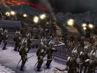 The Lord of the Rings: The Battle for Middle-earth - Catapults firing on the walls of Minas Tirith