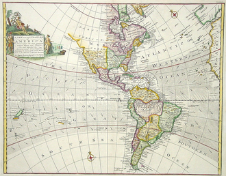 American (word) - British map of the Americas in 1744.