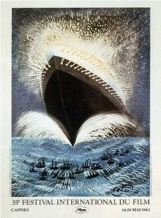 1982 Cannes Film Festival - Official poster of the 35th Cannes Film Festival, adapted from an original drawing by Italian film director Federico Fellini.