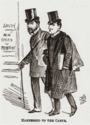 The Nautch Girl - Caricature of Solomon (r) with Richard D'Oyly Carte, 1891